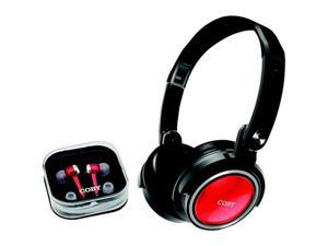 COBY CV215RED Coby cv215red jammerz headphones with earbuds & carrying case (red)