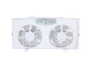"Optimus 8"" Electrically Reversible Twin Window Fan with Thermostat & LED"