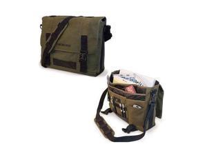 "Mobile Edge ECO Carrying Case (Messenger) for 15"" Notebook, MacBook Pro, Tablet, iPad, Ultrabook - Olive - Cotton Canvas - Shoulder Strap, Clip"