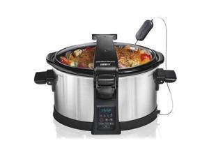 Hamilton Beach 33464 Set and Forget Programmable Slow Cooker, 6-Quart, Silver