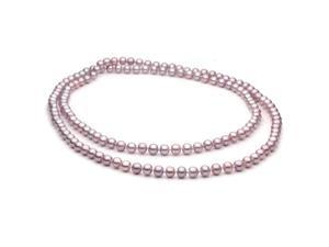 6-7mm Lavender Freshwater Cultured Pearl Necklace AA+ Quality, 36 Inch Opera, Continuous Rope
