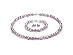 14k Yellow Gold 7-8mm Lavender Freshwater Cultured Pearl Set AA+ Quality, Set Includes Necklace, Bracelet, & Earrings