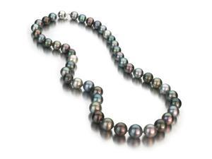 Multi-Color Tahitian Cultured Pearl Necklace - 8-11mm, AAA Quality, Solid 14k White Gold Ball Clasp, 18 Inch Necklace