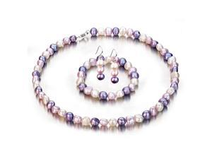 Baroque Multi Color White, Purple, and Lavender Freshwater Cultured Pearl Set, Sterling Silver Lobster Clasp, 8.5-9mm AA ...