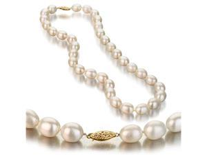UniquePearl 14K Yellow Gold 9-10mm Oval White Freshwater Cultured Pearl Necklace AA+ Quality Pearls, 18 Inch
