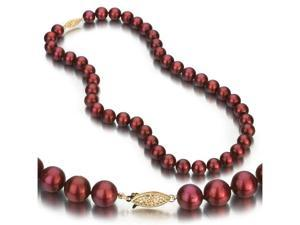 14 Yellow Gold 9-10mm Cranberry Freshwater Cultured Pearl Necklace AA+ Quality Pearls, 18 Inch