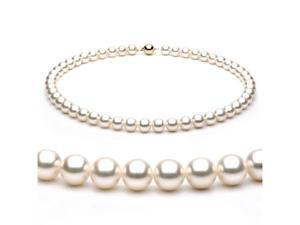 14k Yellow Gold 8-8.5mm White Japanese Akoya Saltwater Cultured Pearl Necklace AAA Quality, 18 Inch Princess