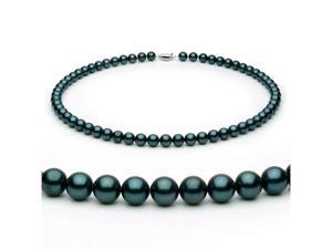 14k White Gold 6.5-7.0mm Black Akoya Saltwater Cultured Pearl Necklace AA+ Quality, 20 Inch Princess, Color Enhanced