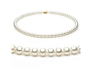 14k Yellow Gold 6.5-7mm White Japanese Akoya Saltwater Cultured Pearl Necklace AAA Quality, 18 Inch Princess