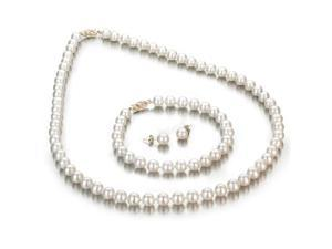 White Freshwater Cultured Pearl 3-Piece Set, 14k Yellow Gold Fishhook Clasp, 6-7mm AA+ Quality Pearls, 18 Inch Necklace, ...