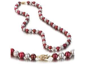 UniquePearl 14K Yellow Gold 6.5-7mm Multi Color Cranberry and Grey Freshwater Cultured Pearl Necklace AA+ Quality Pearls, ...