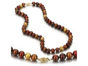 UniquePearl 14K Yellow Gold 8-8.5mm Multi Color Chocolate, Gold, and Cranberry Freshwater Cultured Pearl Necklace AA+ Quality ...