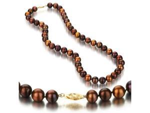 UniquePearl 14K Yellow Gold 8.5-9mm Multi Color Chocolate Freshwater Cultured Pearl Necklace AA+ Quality Pearls, 18 Inch
