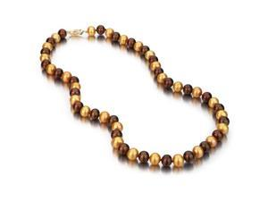 Chocolate and Gold Freshwater Cultured Pearl Necklace, 14k Yellow Gold Fishhook Clasp, 8-8.5mm AA+ Quality Pearls, 18 Inch ...