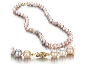 Multi-Color Freshwater Cultured Pearl Necklace, 14k Yellow Gold Fishhook Clasp, 8-9mm AA+ Quality Pearls, 18 Inch Necklace