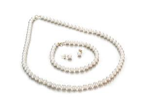 UniquePearl 14K Yellow Gold 5-6mm White Freshwater Cultured Pearl 3-Piece Set AA+ Quality Pearls, 18 Inch Necklace, 7 Inch ...