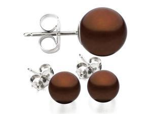 14K White Gold 9-10mm Chocolate Freshwater Cultured Pearl Stud Earrings AAA Quality