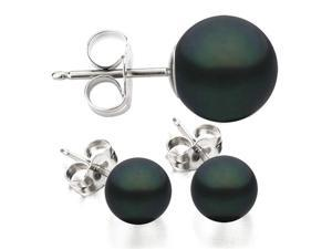 14K White Gold 6-7mm Black Freshwater Cultured Pearl Stud Earrings AAA Quality