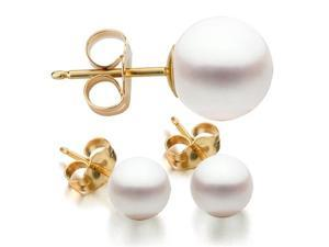 14K Yellow Gold 7-8mm White Freshwater Cultured Pearl Stud Earrings AAA Quality