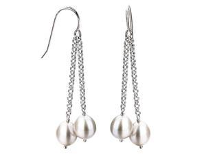 Sterling Silver White Freshwater Cultured Pearl Dangle Earrings, 7.5-8mm Pearl, Euro Wire Earrings