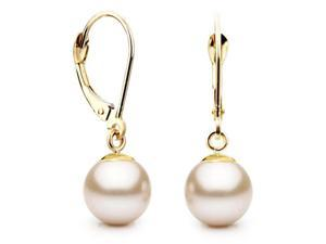 Unique Pearl Freshwater Cultured Pearl 14k Gold White Leverback Earrings, 8-9mm AAA Quality Pearls, with Solid Yellow Gold ...