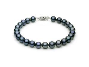 14k White Gold 7-8mm Black Freshwater Cultured Pearl Bracelet AA+ Quality, 7.5 Inch