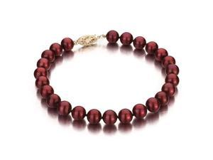 Cranberry Freshwater Cultured Pearl Bracelet, 14k Yellow Gold Fishhook Clasp, 6-7mm AA+ Quality Pearls, 7 Inch Bracelet