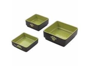 Four Square Dog Dish Green 5 Inch