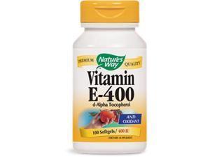 Vitamin E 400 IU With D- Alpha Tocopherols - Nature's Way - 100 - Softgel