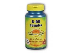 Vitamin B-Complex 50mg - Vegetarian, Yeast-Free - Nature's Life - 50 - Tablet