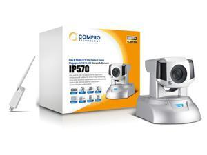 Compro IP570 Megapixe/HD Wireless Network Camera, Pan/Tilt, 12X optical Zoom & 10x digital Zoom, Max 1280x1024 resolution, H.264 & MPEG-4, Day/Night Vision, Support for 802.11 b/g/n wireless standards