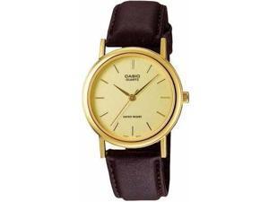 Casio #MTP1095Q-9A Men's Leather Strap Fashion Gold Dial Analog Quartz Watch.
