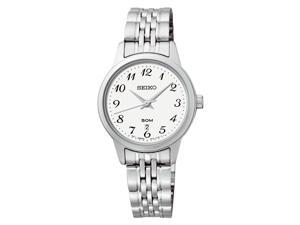 Seiko SUR885 Women's Stainless Steel Easy Reader White Dial Casual Analog Watch