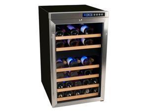 Edgestar 34 Bottle Free Standing Dual Zone Wine Cooler - Black/Stainless Steel
