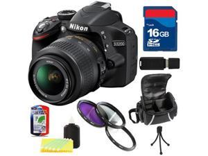 Nikon D3200 w/ 18-55mm VR Lens + 16GB Accessory Kit - Black