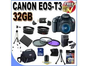 Canon EOS Rebel T3 12.2 MP CMOS Digital SLR with 18-55mm IS II Lens (Black)+58mm 2x Telephoto lens + 58mm Wide Angle Lens ...