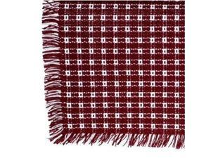 Mountain Laurel Hand Loomed Homespun Rectangle Tablecloth - 62 x 90 Inch - Cranberry with White