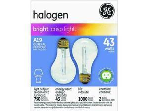 GE Lighting 78796 43A/CL/H2-PK A19 Halogen Bulb