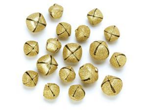 Giltter Jingle Bells 18/Pkg-Gold Assorted