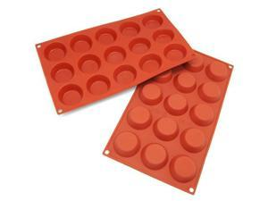 Freshware 15-Cavity Mini Cheesecake, Pudding, Tart, and Muffin Silicone Mold and Baking Pan (Pack of 2) - OEM