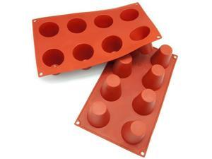 Freshware 8-Cavity Cylinder Pudding Silicone Mold and Baking Pan (Pack of 2) - OEM