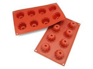 Freshware 8-Cavity Mini Bundt and Coffe Cake Silicone Mold and Baking Pan (Pack of 2) - OEM