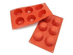 Freshware 6-Cavity Diamond Cake Silicone Mold and Baking Pan (Pack of 2) - OEM