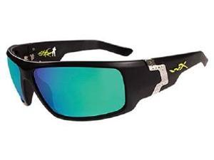 Wileyx P-17 Polarized Emerald Mirror/Gloss Black Glasses