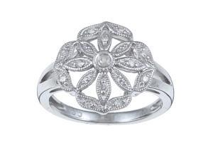 1/8 TDW Antique Vintage Style Pave Diamond Ring in Sterling Silver (G-H, I1-I2)