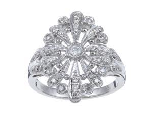 1/2 Carat TDW Antique Vintage Style Pave Diamond Ring in Sterling Silver (G-H, I1-I2)