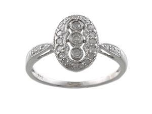 Sterling Silver 1/3ct Vintage Antique Style Pave Diamond Ring (G-H, I1-I2)