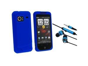HTC EVO 3D 3.5mm In-Ear Stereo Headset w/ On-off & Mic with Droid Incredible Blue Silicone Skin Case