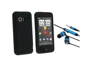 HTC EVO 3D 3.5mm In-Ear Stereo Headset w/ On-off & Mic with Droid Incredible Black Silicone Skin Case