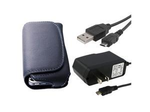 Leather Case + USB Data Cable + Home/Travel Charger compatible with LG Xenon GR500